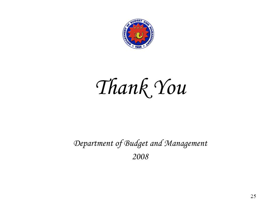 25 Thank You Department of Budget and Management 2008