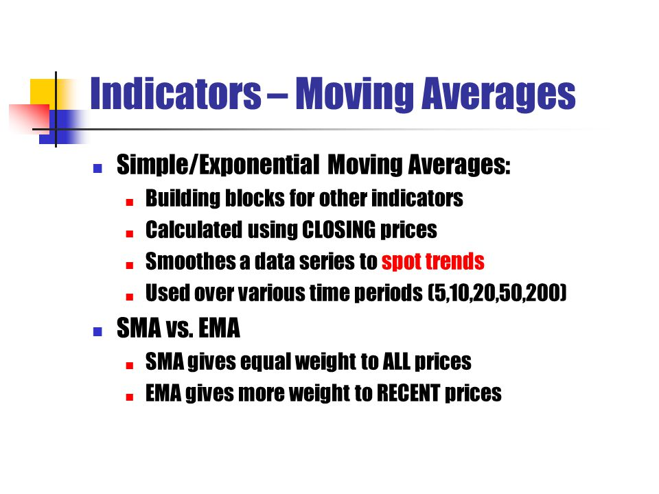 Indicators – Moving Averages Simple/Exponential Moving Averages: Building blocks for other indicators Calculated using CLOSING prices Smoothes a data