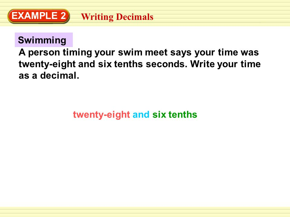 Swimming EXAMPLE 2 Writing Decimals A person timing your swim meet says your time was twenty-eight and six tenths seconds. Write your time as a decima