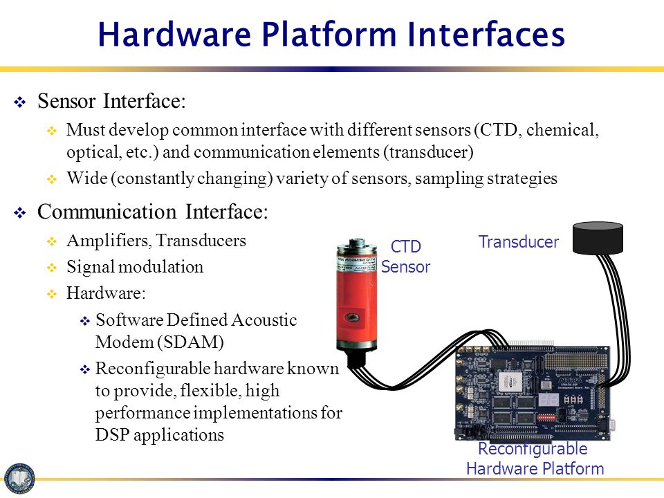 Hardware Platform  Ideal: One piece of hardware for all sensor nodes  Hardware is wirelessly updatable: no need to retrieve equipment to update hardware for changing communication protocols, sampling, sensing strategies Reconfigurable Hardware Platform Transducer CTD Sensor
