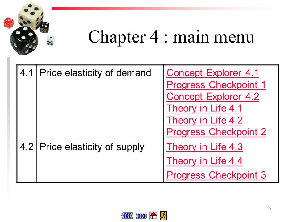 2 Chapter 4 : main menu 4.1Price elasticity of demandConcept Explorer 4.1 Progress Checkpoint 1 Concept Explorer 4.2 Theory in Life 4.1 Theory in Life 4.2 Progress Checkpoint 2 4.2Price elasticity of supplyTheory in Life 4.3 Theory in Life 4.4 Progress Checkpoint 3