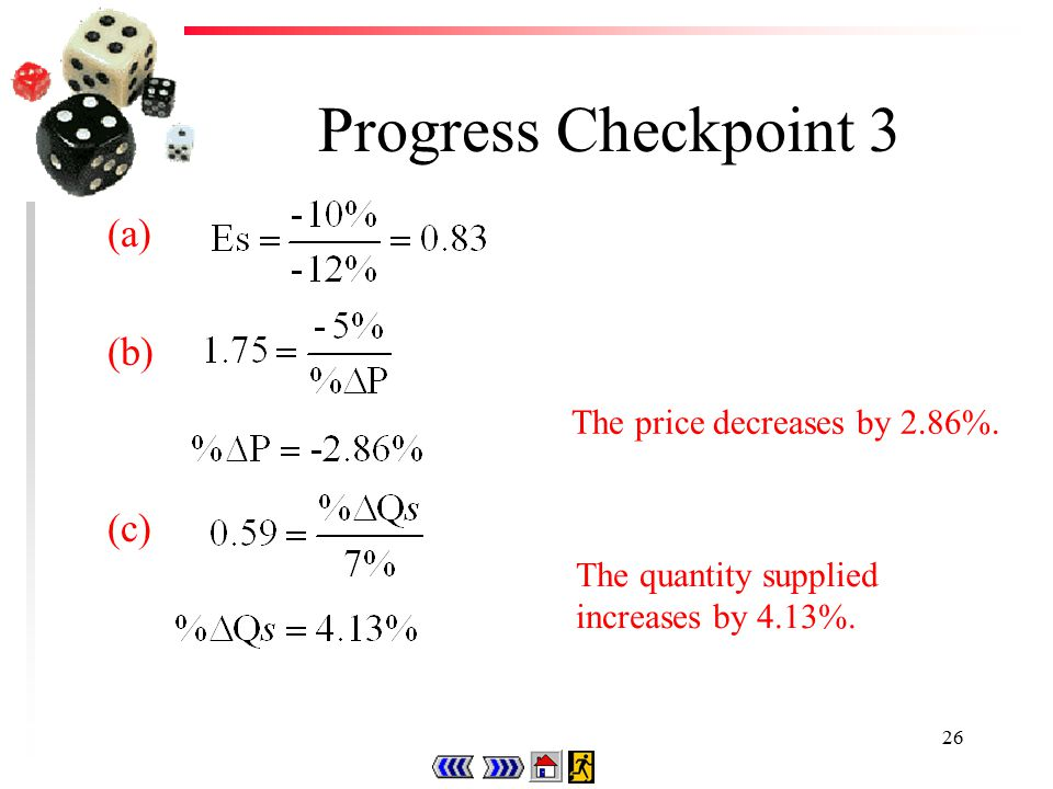25 Progress Checkpoint 3 (a)Calculate the price elasticity of supply if a 12% decrease in price leads to a 10% decrease in quantity supplied.