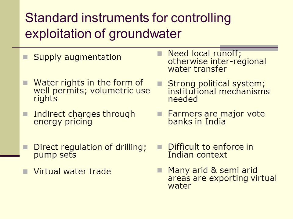 Standard instruments for controlling exploitation of groundwater Supply augmentation Water rights in the form of well permits; volumetric use rights I