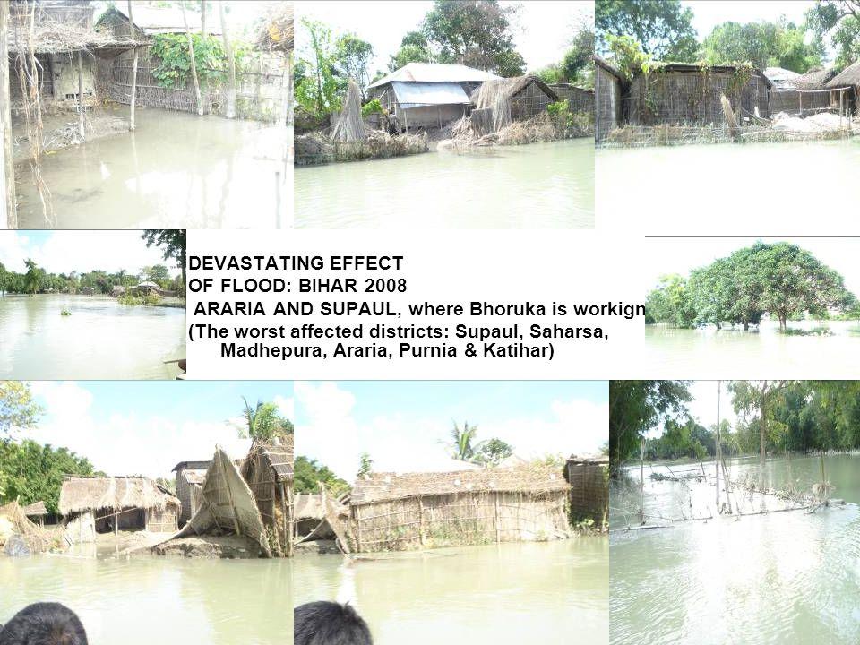 DEVASTATING EFFECT OF FLOOD: BIHAR 2008 ARARIA AND SUPAUL, where Bhoruka is workign (The worst affected districts: Supaul, Saharsa, Madhepura, Araria, Purnia & Katihar)