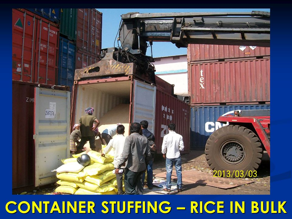 CONTAINER STUFFING – RICE IN BULK