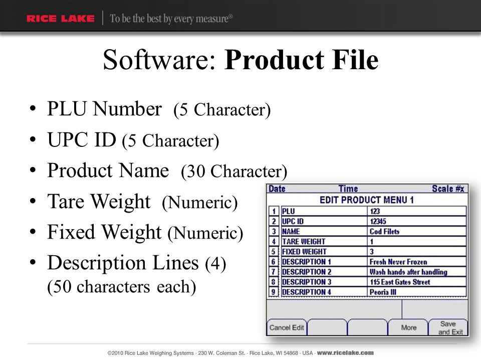 PLU Number (5 Character) UPC ID (5 Character) Product Name (30 Character) Tare Weight (Numeric) Fixed Weight (Numeric) Description Lines (4) (50 chara