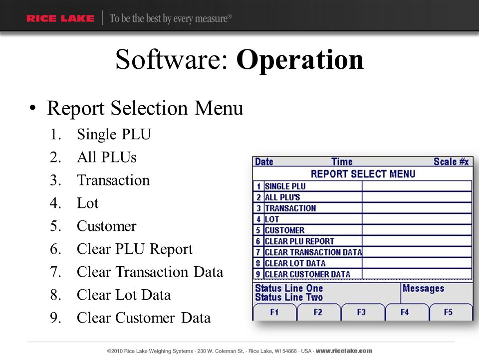 Report Selection Menu 1.Single PLU 2.All PLUs 3.Transaction 4.Lot 5.Customer 6.Clear PLU Report 7.Clear Transaction Data 8.Clear Lot Data 9.Clear Cust