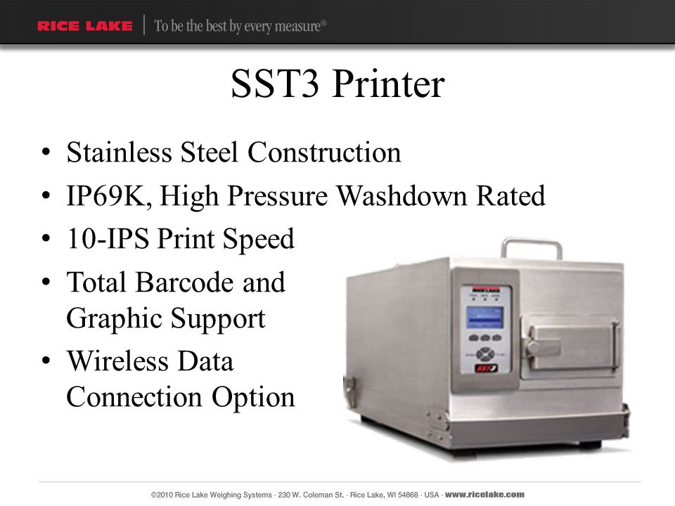 Stainless Steel Construction IP69K, High Pressure Washdown Rated 10-IPS Print Speed Total Barcode and Graphic Support Wireless Data Connection Option