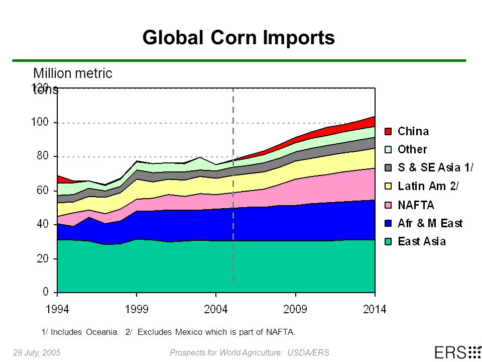 28 July, 2005Prospects for World Agriculture: USDA/ERS Global Corn Imports Million metric tons 1/ Includes Oceania.