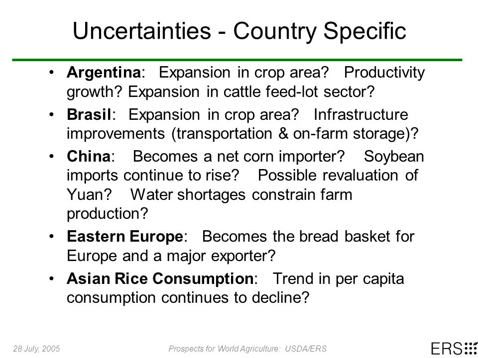28 July, 2005Prospects for World Agriculture: USDA/ERS Uncertainties - Country Specific Argentina: Expansion in crop area? Productivity growth? Expans