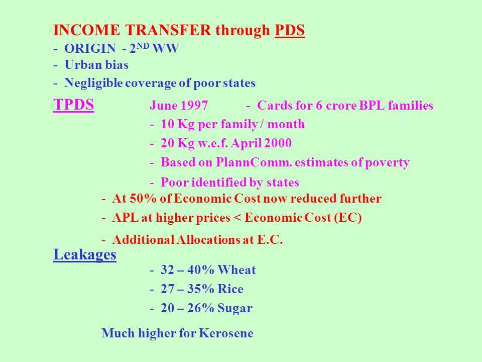 INCOME TRANSFER through PDS - ORIGIN - 2 ND WW - Urban bias - Negligible coverage of poor states TPDS June 1997- Cards for 6 crore BPL families - 10 Kg per family / month - 20 Kg w.e.f.