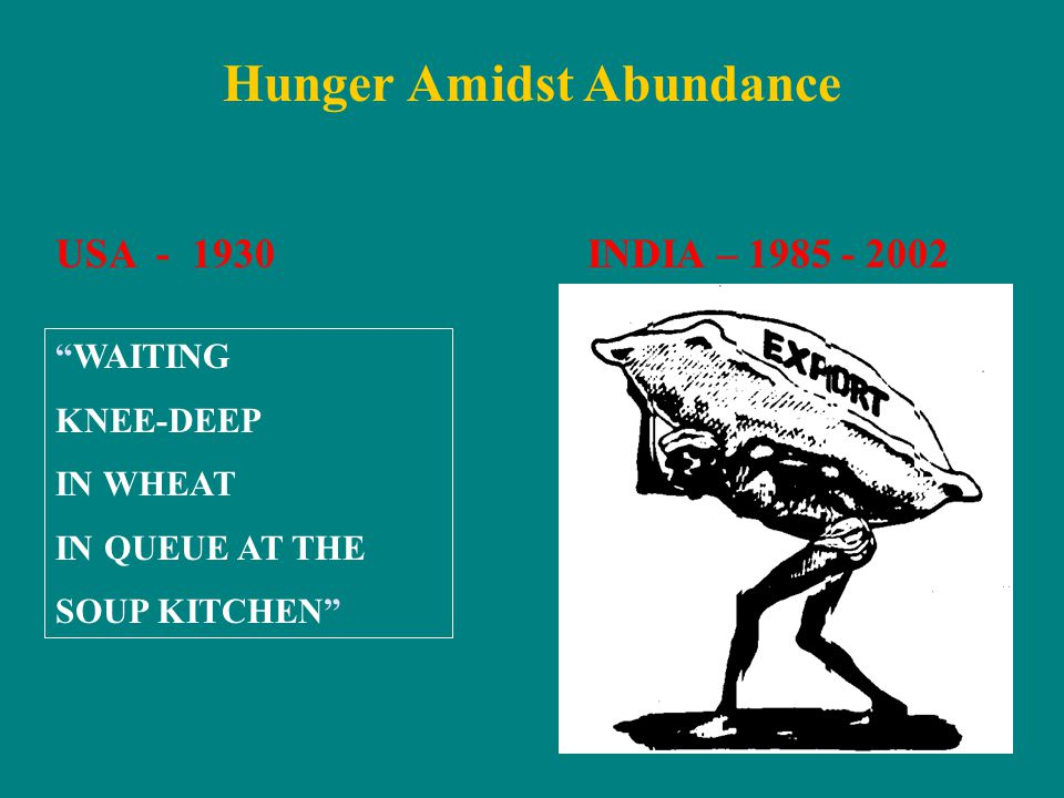 """Hunger Amidst Abundance USA - 1930INDIA – 1985 - 2002 """"WAITING KNEE-DEEP IN WHEAT IN QUEUE AT THE SOUP KITCHEN"""""""