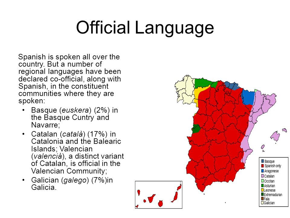 Official Language Spanish is spoken all over the country.