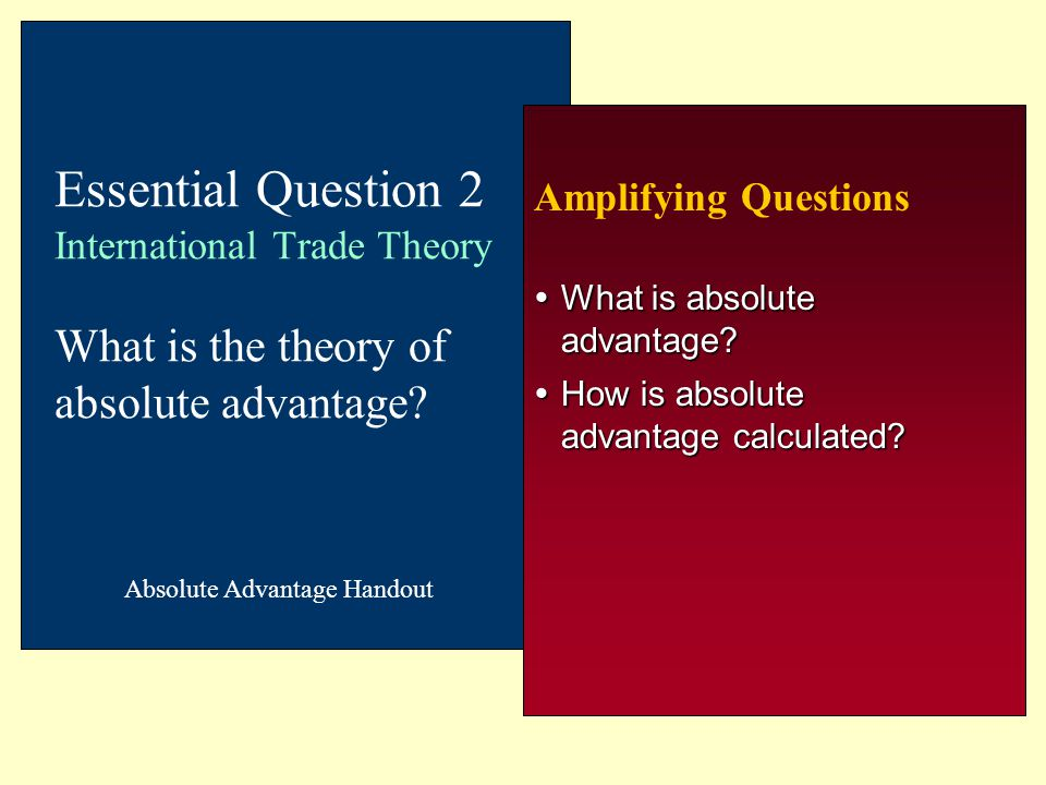 Amplifying Questions  What is absolute advantage?  How is absolute advantage calculated? Essential Question 2 International Trade Theory What is the