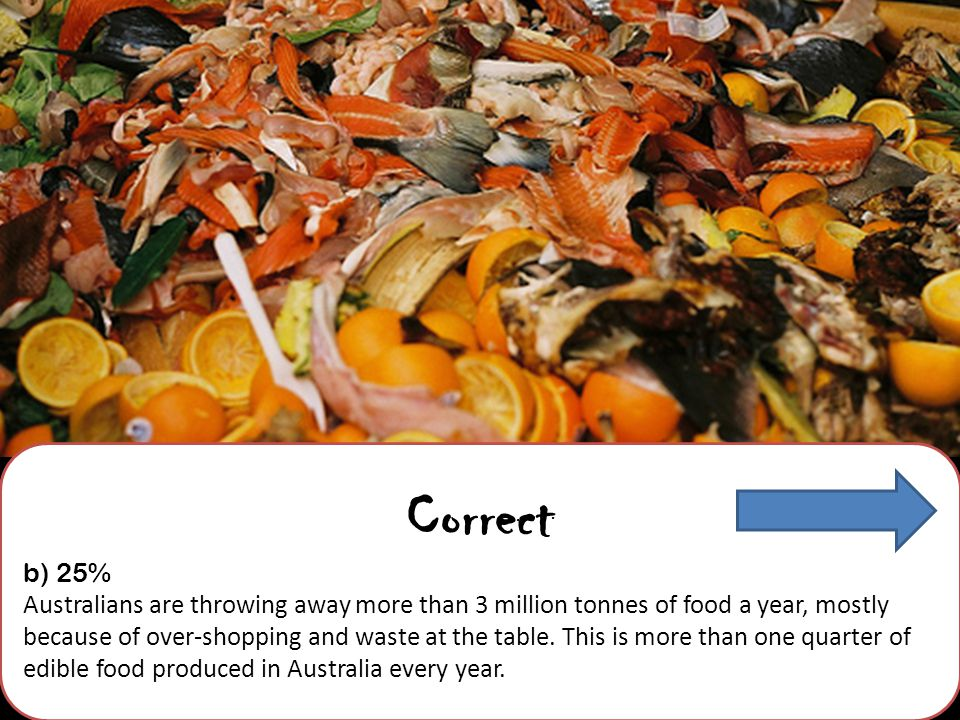 Correct b) 25% Australians are throwing away more than 3 million tonnes of food a year, mostly because of over-shopping and waste at the table.
