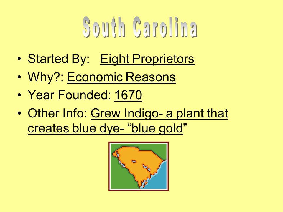 Started By: Eight Proprietors Why : Economic Reasons Year Founded: 1670 Other Info: Grew Indigo- a plant that creates blue dye- blue gold