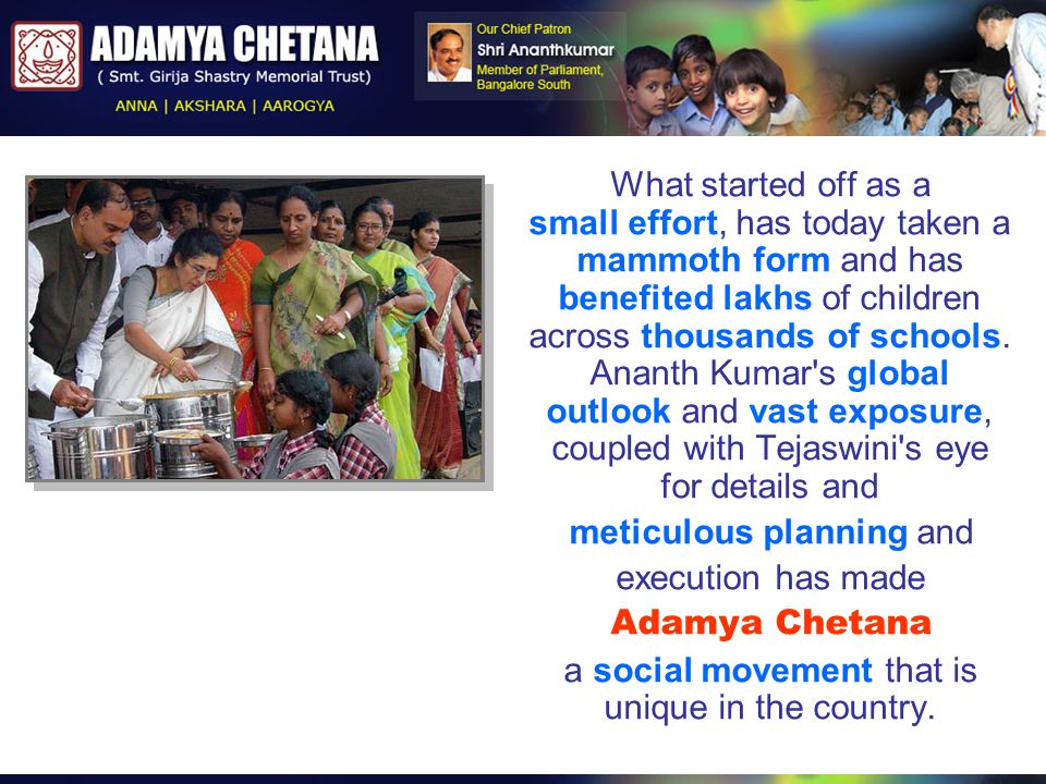 What started off as a small effort, has today taken a mammoth form and has benefited lakhs of children across thousands of schools. Ananth Kumar's glo