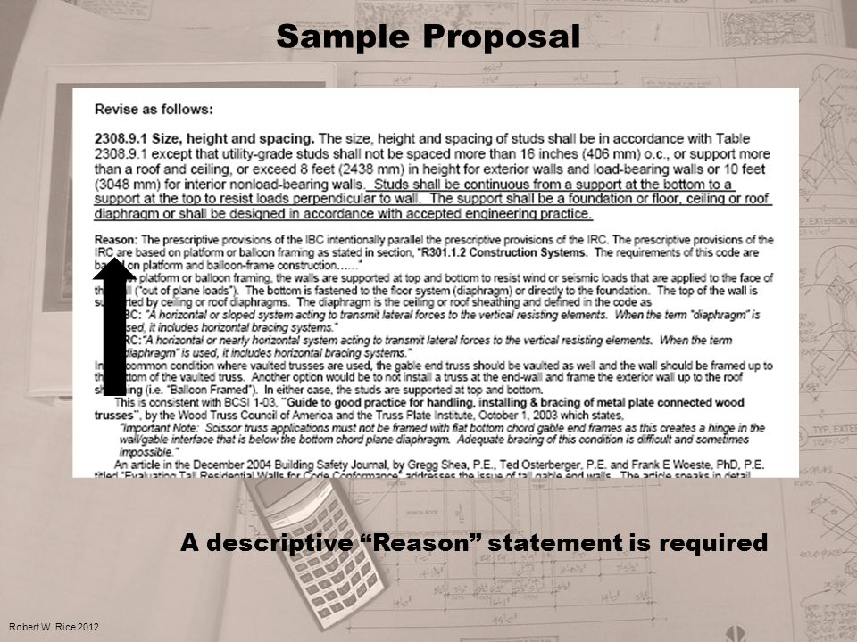 "Sample Proposal Robert W. Rice 2012 A descriptive ""Reason"" statement is required"