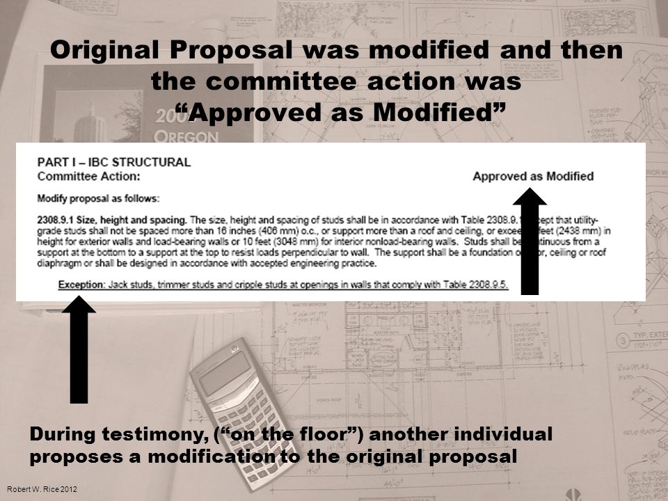 Original Proposal was modified and then the committee action was Approved as Modified Robert W.