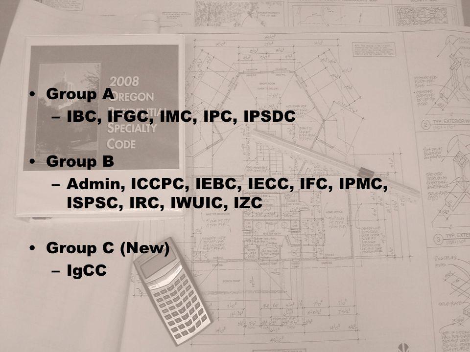 Group A –IBC, IFGC, IMC, IPC, IPSDC Group B –Admin, ICCPC, IEBC, IECC, IFC, IPMC, ISPSC, IRC, IWUIC, IZC Group C (New) –IgCC