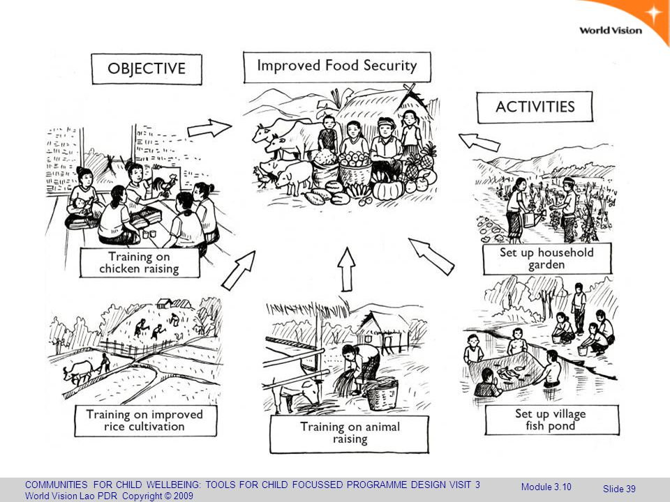 COMMUNITIES FOR CHILD WELLBEING: TOOLS FOR CHILD FOCUSSED PROGRAMME DESIGN VISIT 3 World Vision Lao PDR Copyright © 2009 Slide 39 Module 3.10