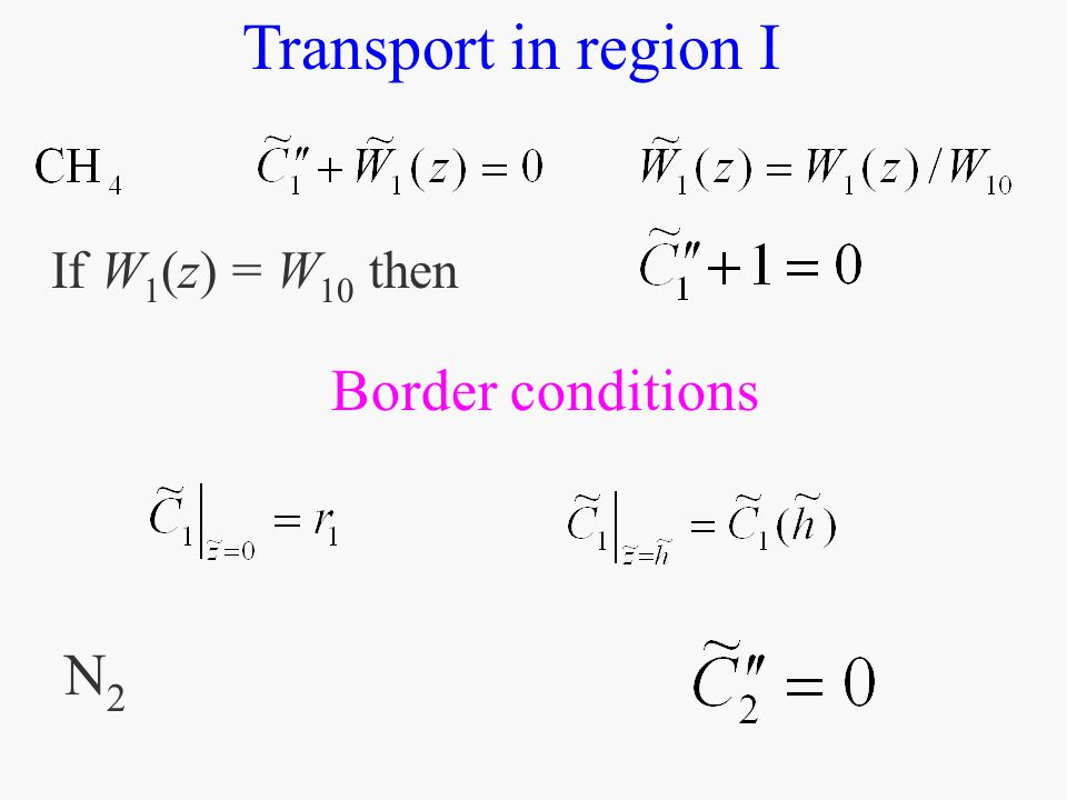If W 1 (z) = W 10 then Transport in region I Border conditions N2N2