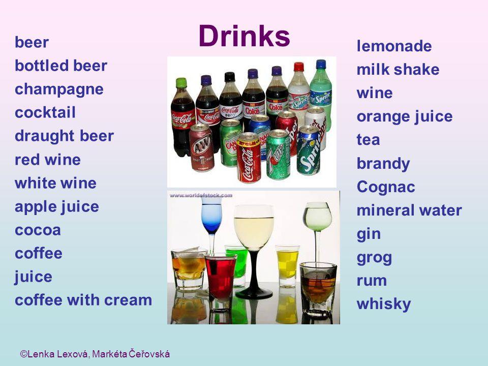 ©Lenka Lexová, Markéta Čeřovská Drinks beer bottled beer champagne cocktail draught beer red wine white wine apple juice cocoa coffee juice coffee wit