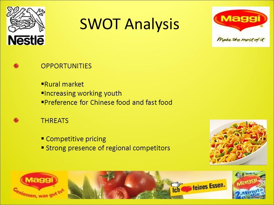 SWOT Analysis OPPORTUNITIES  Rural market  Increasing working youth  Preference for Chinese food and fast food THREATS  Competitive pricing  Stro