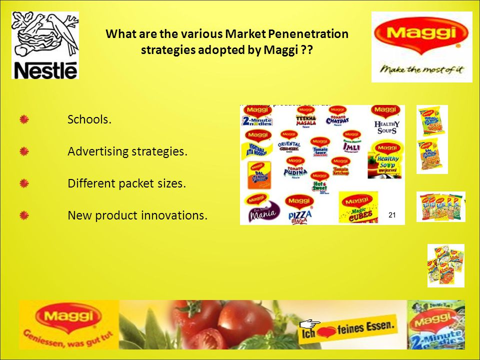 What are the various Market Penenetration strategies adopted by Maggi ?? Schools. Advertising strategies. Different packet sizes. New product innovati