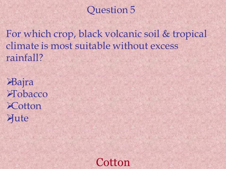 Cotton Question 5 For which crop, black volcanic soil & tropical climate is most suitable without excess rainfall.