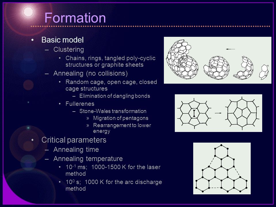 Formation Basic model –Clustering Chains, rings, tangled poly-cyclic structures or graphite sheets –Annealing (no collisions) Random cage, open cage, closed cage structures –Elimination of dangling bonds Fullerenes –Stone-Wales transformation »Migration of pentagons »Rearrangement to lower energy Critical parameters –Annealing time –Annealing temperature 10 -1 ms; 1000-1500 K for the laser method 10 0 s; 1000 K for the arc discharge method