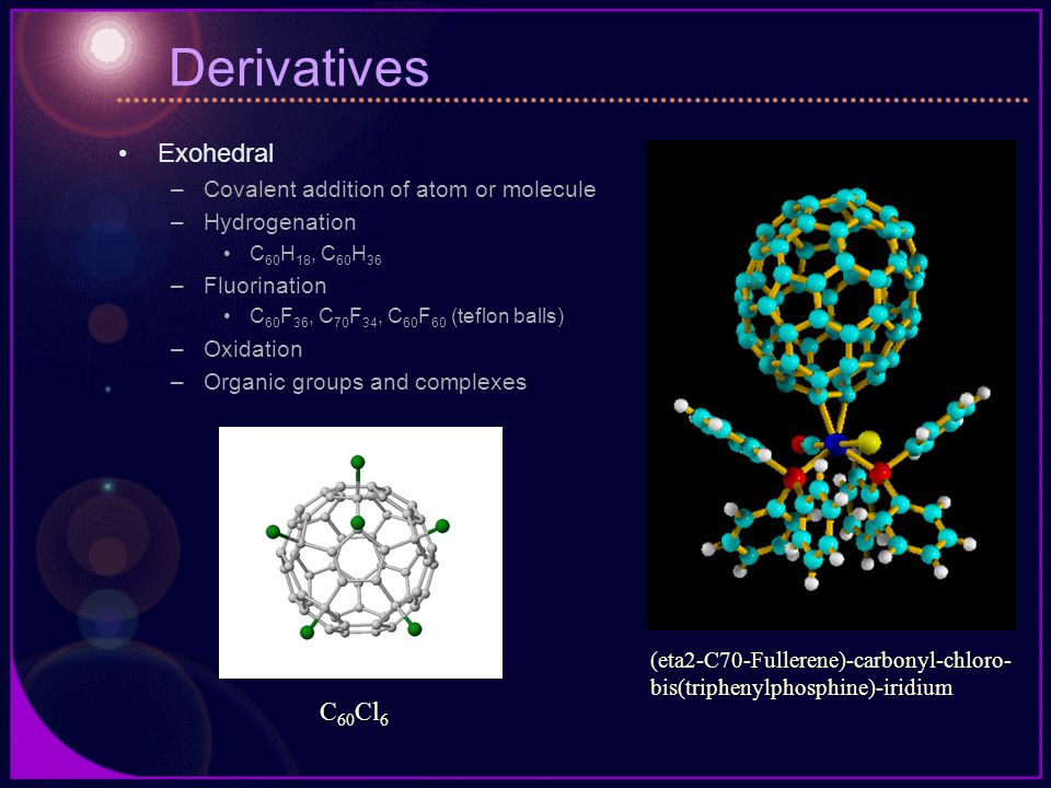 Derivatives Exohedral –Covalent addition of atom or molecule –Hydrogenation C 60 H 18, C 60 H 36 –Fluorination C 60 F 36, C 70 F 34, C 60 F 60 (teflon balls) –Oxidation –Organic groups and complexes C 60 Cl 6 (eta2-C70-Fullerene)-carbonyl-chloro- bis(triphenylphosphine)-iridium