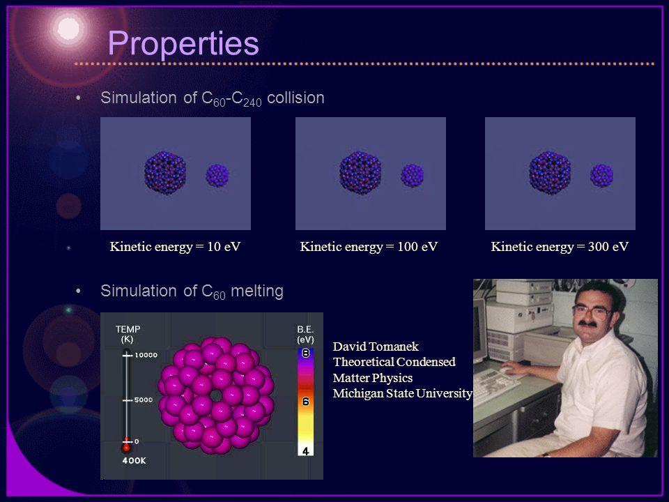 Properties Simulation of C 60 -C 240 collision Simulation of C 60 melting Kinetic energy = 10 eVKinetic energy = 100 eVKinetic energy = 300 eV David Tomanek Theoretical Condensed Matter Physics Michigan State University