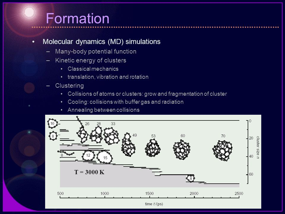 Formation Molecular dynamics (MD) simulations –Many-body potential function –Kinetic energy of clusters Classical mechanics translation, vibration and rotation –Clustering Collisions of atoms or clusters: grow and fragmentation of cluster Cooling: collisions with buffer gas and radiation Annealing between collisions T = 3000 K