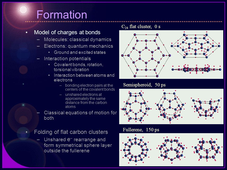 Formation Model of charges at bonds –Molecules: classical dynamics –Electrons: quantum mechanics Ground and excited states –Interaction potentials Covalent bonds, rotation, torsional vibration Interaction between atoms and electrons –bonding electron pairs at the centers of the covalent bonds –unshared electrons at approximately the same distance from the carbon atoms –Classical equations of motion for both Folding of flat carbon clusters –Unshared e – rearrange and form symmetrical sphere layer outside the fullerene C 24 flat cluster, 0 s Semispheroid, 50 ps Fullerene, 150 ps