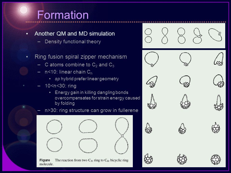 Formation Another QM and MD simulation –Density functional theory Ring fusion spiral zipper mechanism –C atoms combine to C 2 and C 3 –n<10: linear chain C n sp hybrid prefer linear geometry –10<n<30: ring Energy gain in killing dangling bonds overcompensates for strain energy caused by folding –n>30: ring structure can grow in fullerene