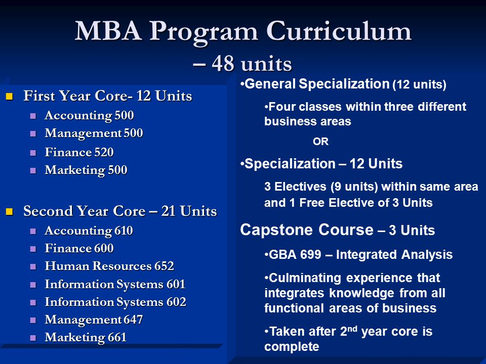MBA Program Curriculum – 48 units First Year Core- 12 Units First Year Core- 12 Units Accounting 500 Accounting 500 Management 500 Management 500 Finance 520 Finance 520 Marketing 500 Marketing 500 Second Year Core – 21 Units Second Year Core – 21 Units Accounting 610 Accounting 610 Finance 600 Finance 600 Human Resources 652 Human Resources 652 Information Systems 601 Information Systems 601 Information Systems 602 Information Systems 602 Management 647 Management 647 Marketing 661 Marketing 661 General Specialization (12 units) Four classes within three different business areas OR Specialization – 12 Units 3 Electives (9 units) within same area and 1 Free Elective of 3 Units Capstone Course – 3 Units GBA 699 – Integrated Analysis Culminating experience that integrates knowledge from all functional areas of business Taken after 2 nd year core is complete