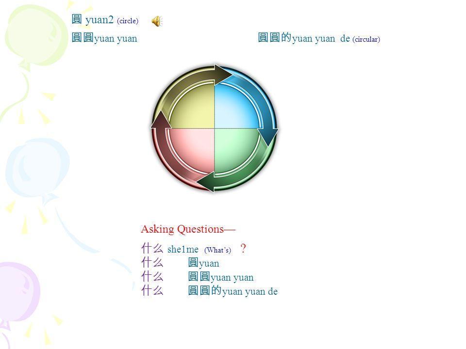 尖 jian1 (sharp, pointy) 尖尖 jian1 jian1 尖尖的 jian jian de Asking Questions— 什么 she1me (What's) .