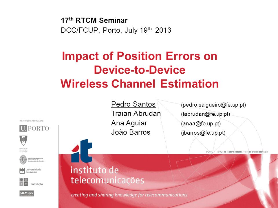 2 Impact of Position Errors in Device-to-Device Wireless Channel Estimation 1.