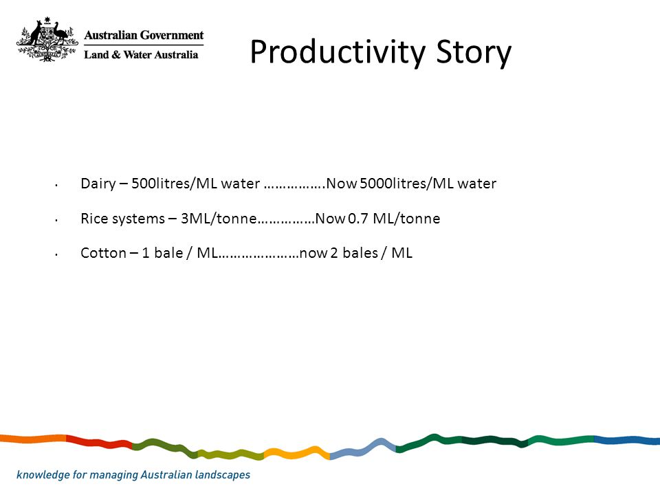 Dairy – 500litres/ML water …………….Now 5000litres/ML water Rice systems – 3ML/tonne……………Now 0.7 ML/tonne Cotton – 1 bale / ML…………………now 2 bales / ML Pro
