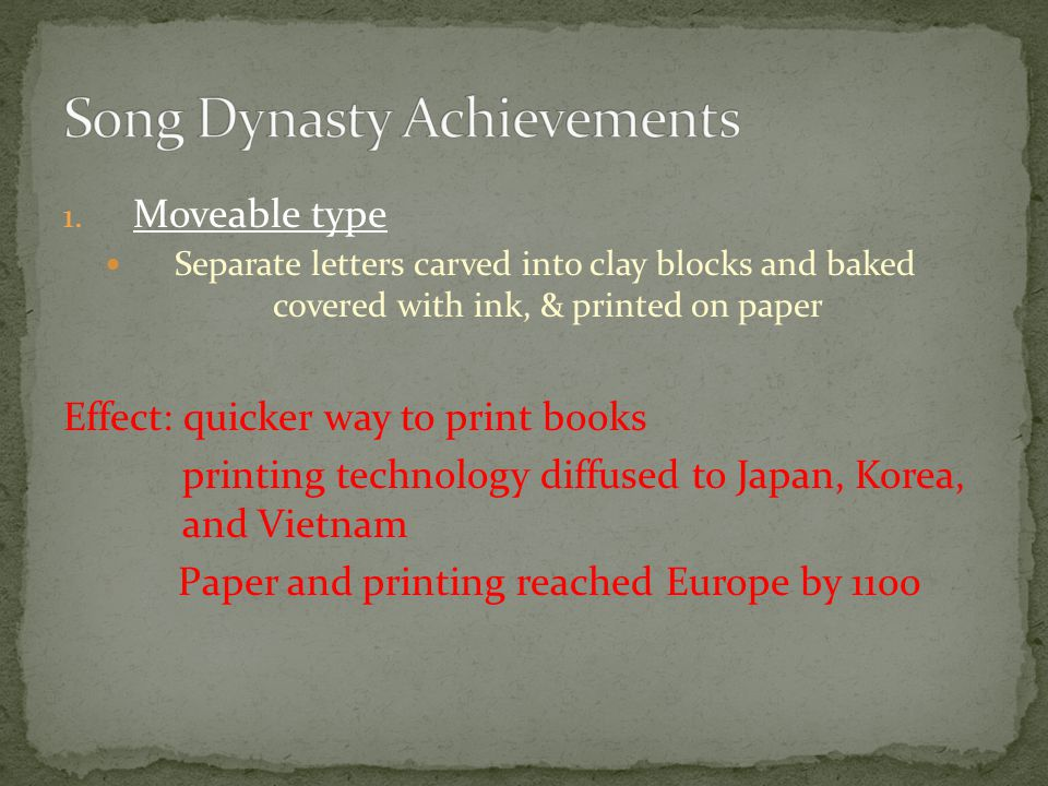 1. Moveable type Separate letters carved into clay blocks and baked covered with ink, & printed on paper Effect: quicker way to print books printing t