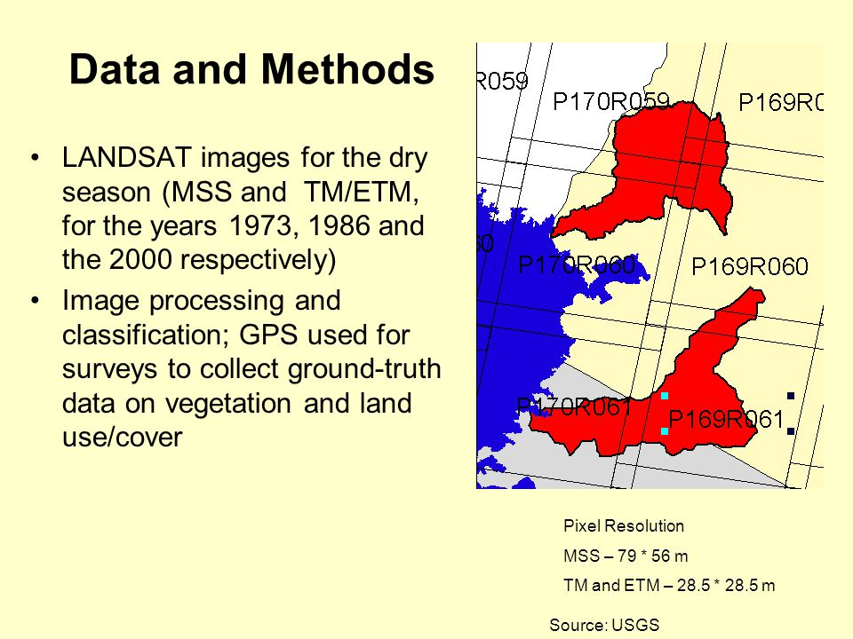 Source: USGS Pixel Resolution MSS – 79 * 56 m TM and ETM – 28.5 * 28.5 m Data and Methods LANDSAT images for the dry season (MSS and TM/ETM, for the years 1973, 1986 and the 2000 respectively) Image processing and classification; GPS used for surveys to collect ground-truth data on vegetation and land use/cover