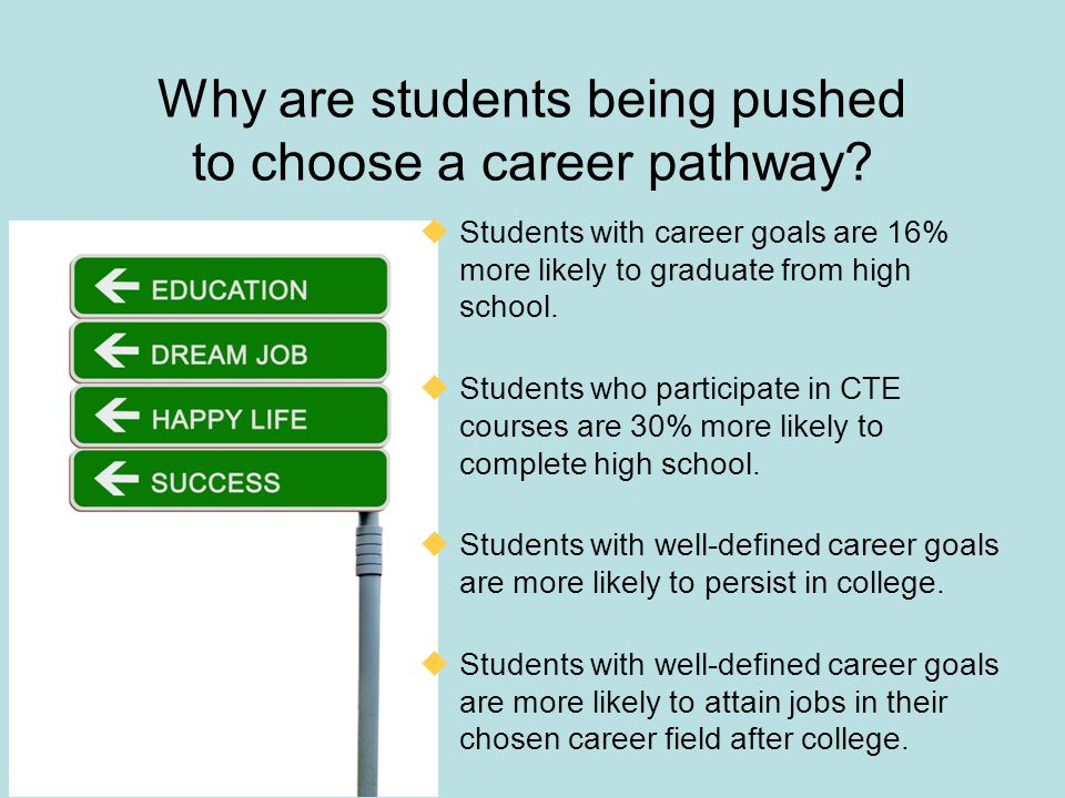 Why are students being pushed to choose a career pathway?  Students with career goals are 16% more likely to graduate from high school.  Students wh