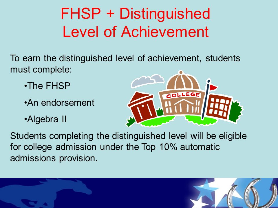 FHSP + Distinguished Level of Achievement To earn the distinguished level of achievement, students must complete: The FHSP An endorsement Algebra II S