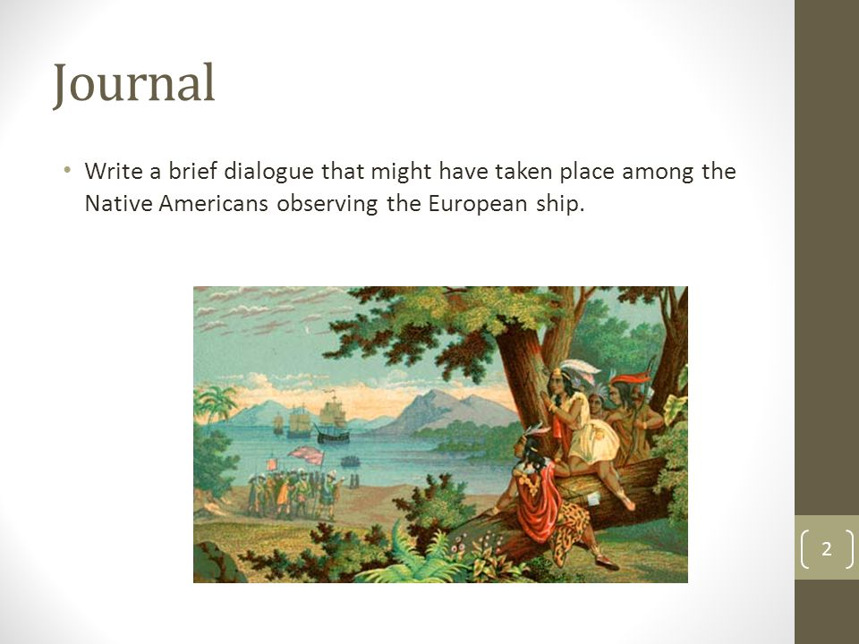 Journal Write a brief dialogue that might have taken place among the Native Americans observing the European ship. 2