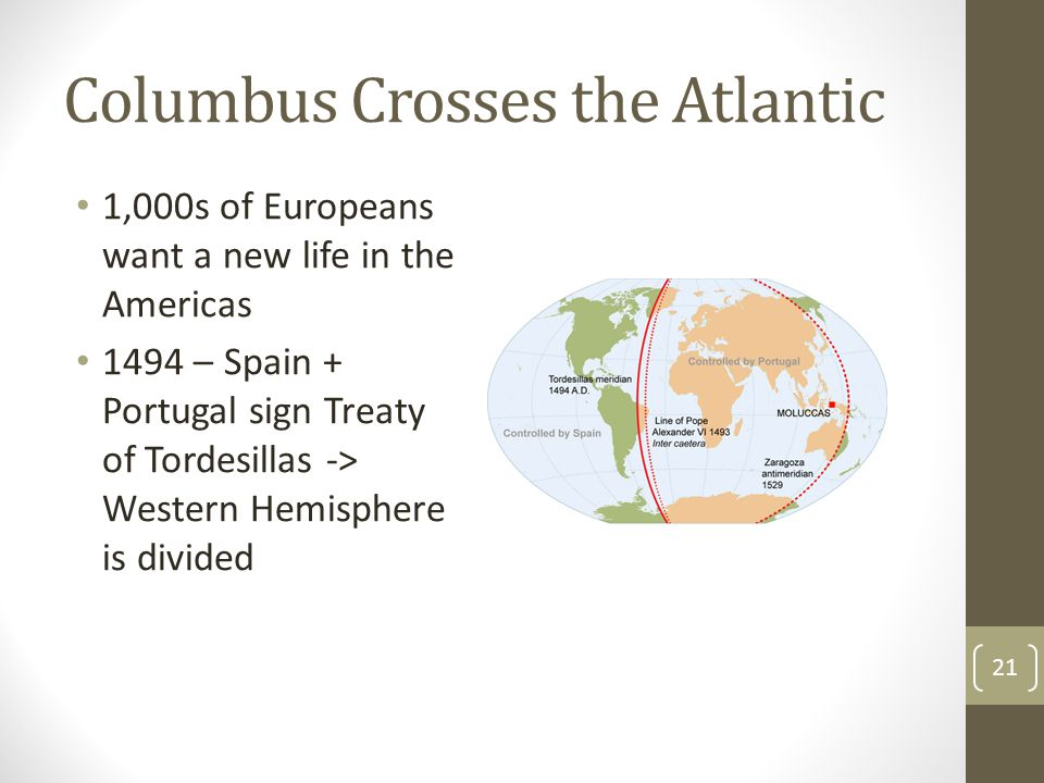 Columbus Crosses the Atlantic 1,000s of Europeans want a new life in the Americas 1494 – Spain + Portugal sign Treaty of Tordesillas -> Western Hemisp