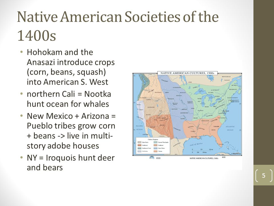 Native American Societies of the 1400s Hohokam and the Anasazi introduce crops (corn, beans, squash) into American S. West northern Cali = Nootka hunt