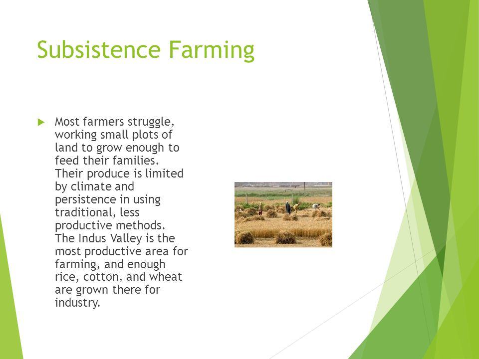 Subsistence Farming  Most farmers struggle, working small plots of land to grow enough to feed their families. Their produce is limited by climate an
