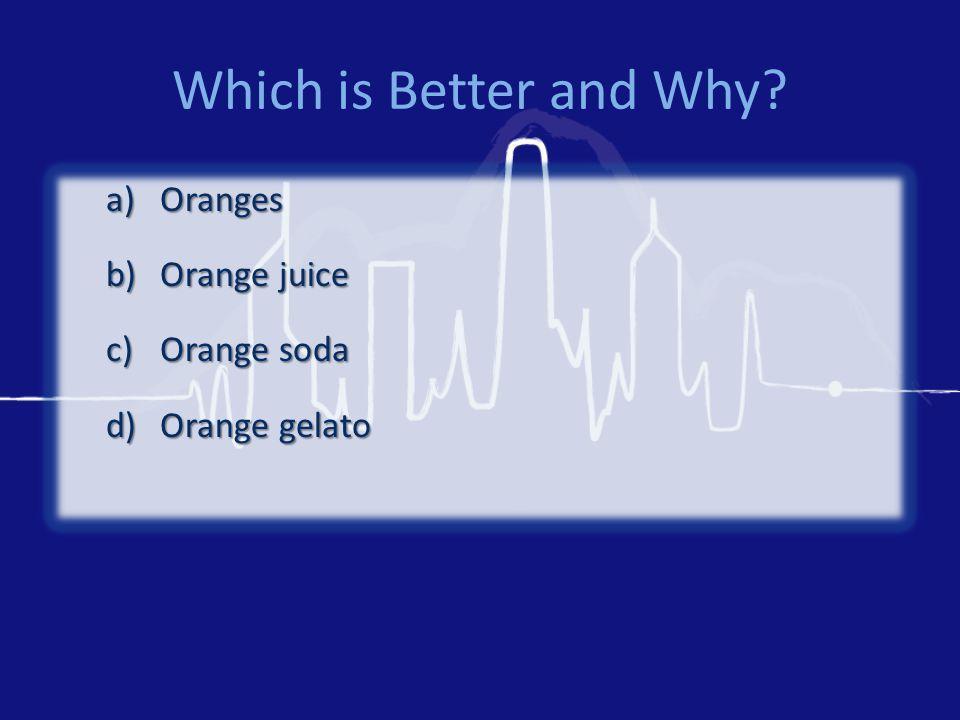 Which is Better and Why? a)Oranges b)Orange juice c)Orange soda d)Orange gelato