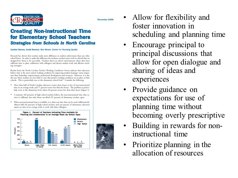 Allow for flexibility and foster innovation in scheduling and planning time Encourage principal to principal discussions that allow for open dialogue and sharing of ideas and experiences Provide guidance on expectations for use of planning time without becoming overly prescriptive Building in rewards for non- instructional time Prioritize planning in the allocation of resources